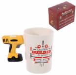 Electric Drill Shaped Handle Mug with Builder Decal